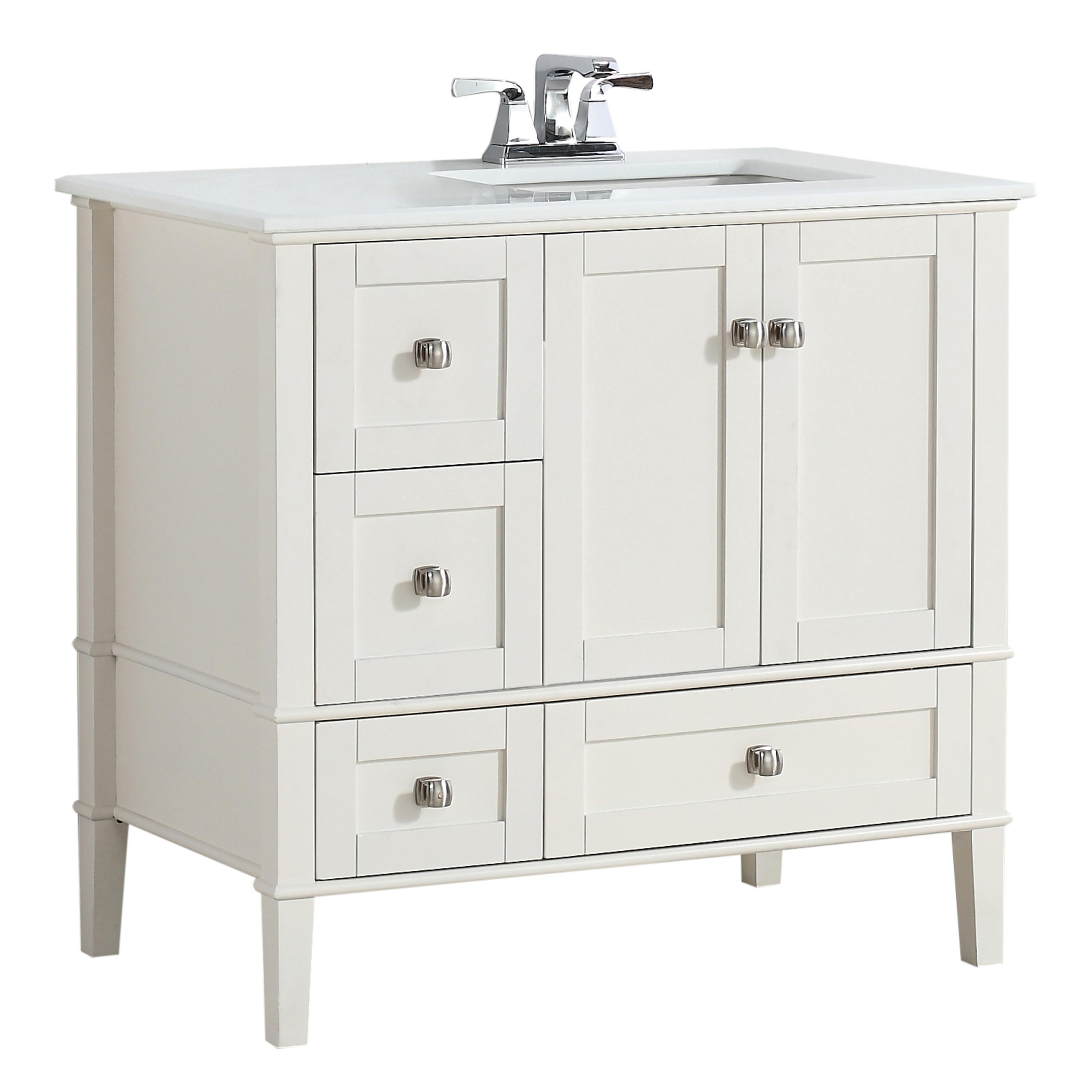 Offset Sink Vanity Top : ... Offset Bath Vanity with White Quartz Marble Top, Soft White - - Amazon
