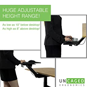 Attractive KT2 Ergonomic Adjustable Stand Up Desk Keyboard Tray