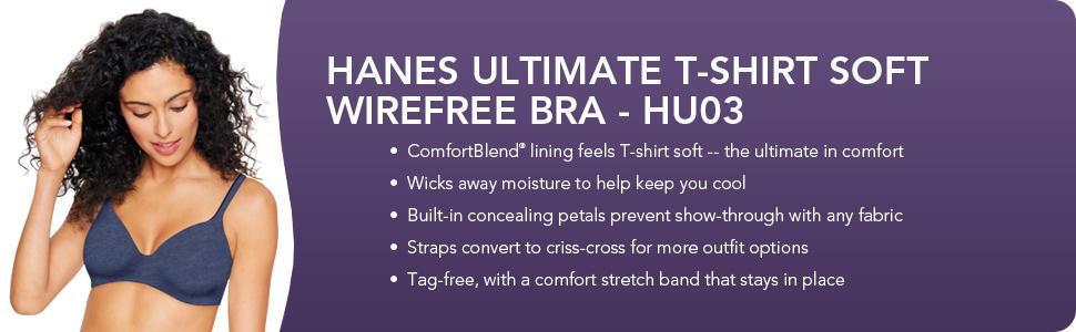 Hanes women 39 s ultimate t shirt bra soft foam wirefree at for Hanes t shirt underwire bra