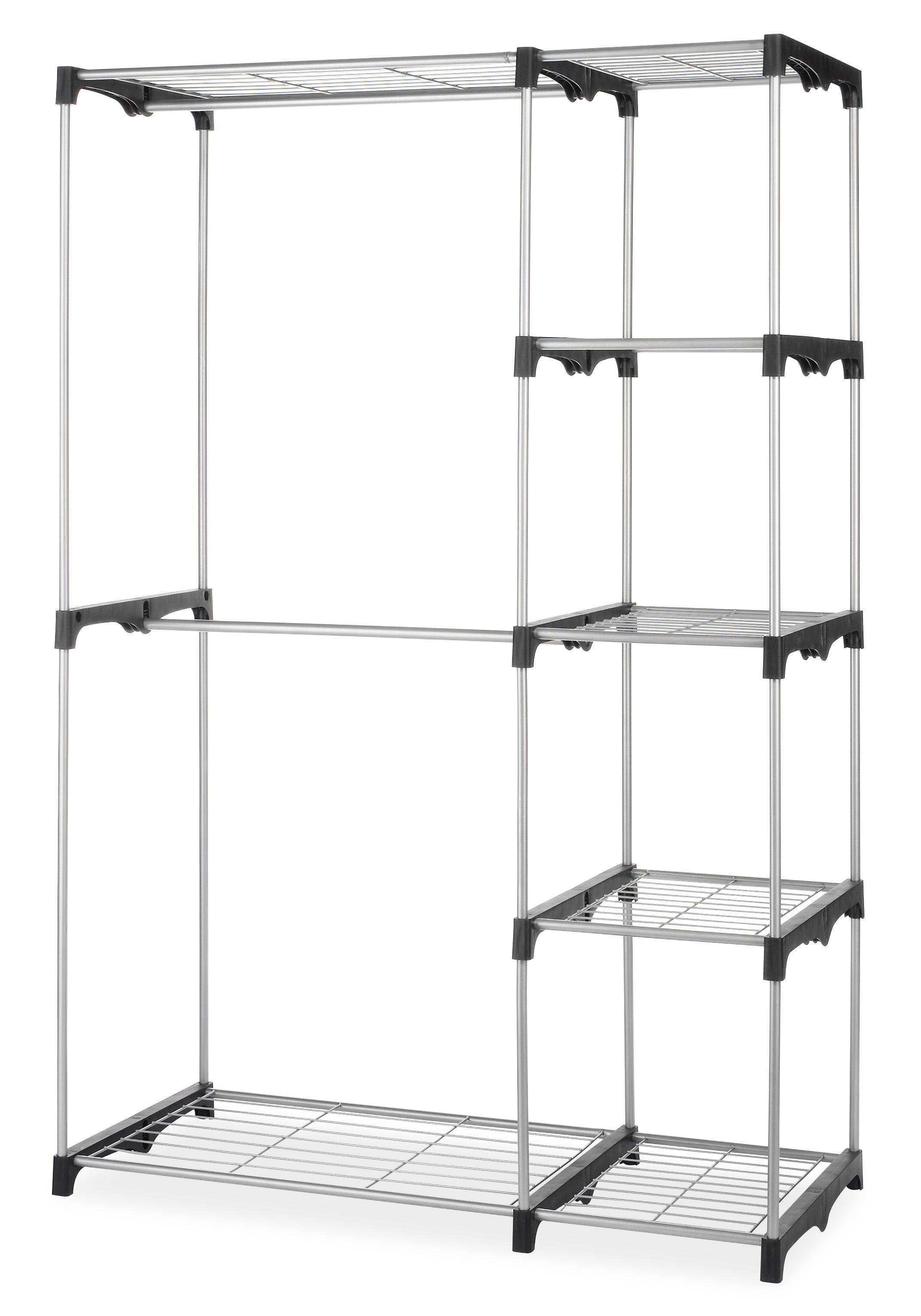 Double Rod Closet : Amazon whitmor double rod freestanding closet silver