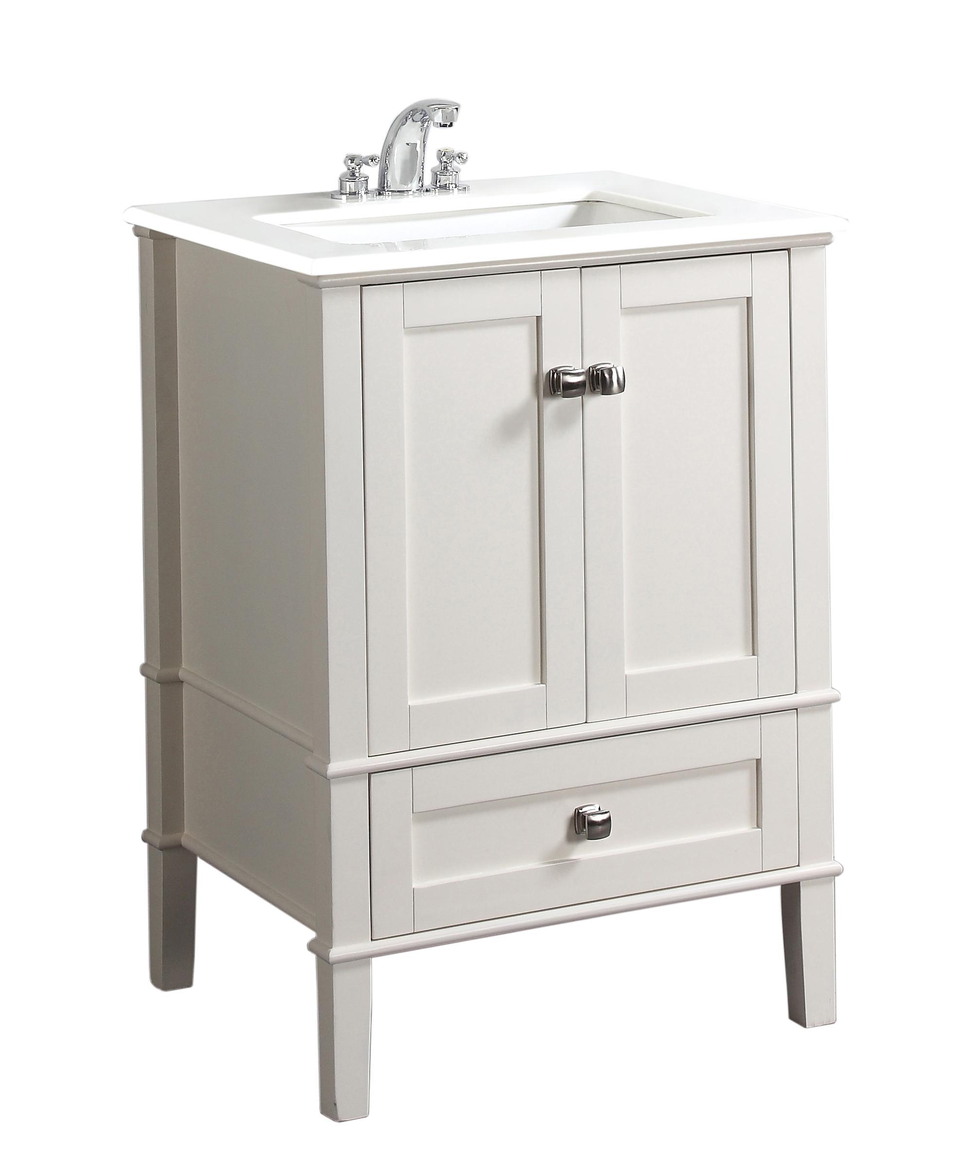 Simpli Home Chelsea 24 Bath Vanity With White Quartz Marble Top Soft White Bathroom Vanities