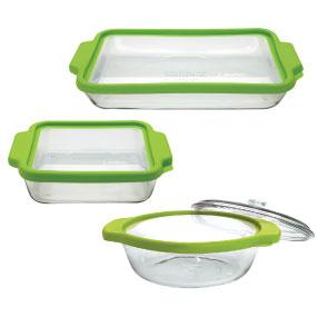 glass; storage; containers; TrueFit; set; bake; serve; store; kitchen; bakeware; seal; green