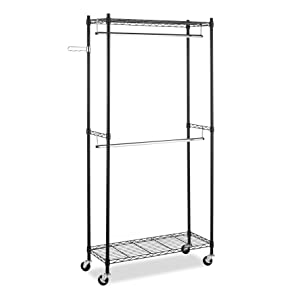 Whitmor 6070 3366 BB Supreme Double Rod Garment Rack, Black