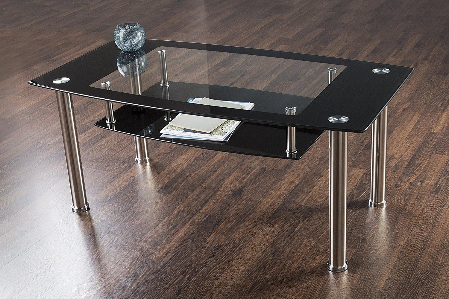 Avf T12 A Black Glass Chrome Coffee Table Home Audio Theater