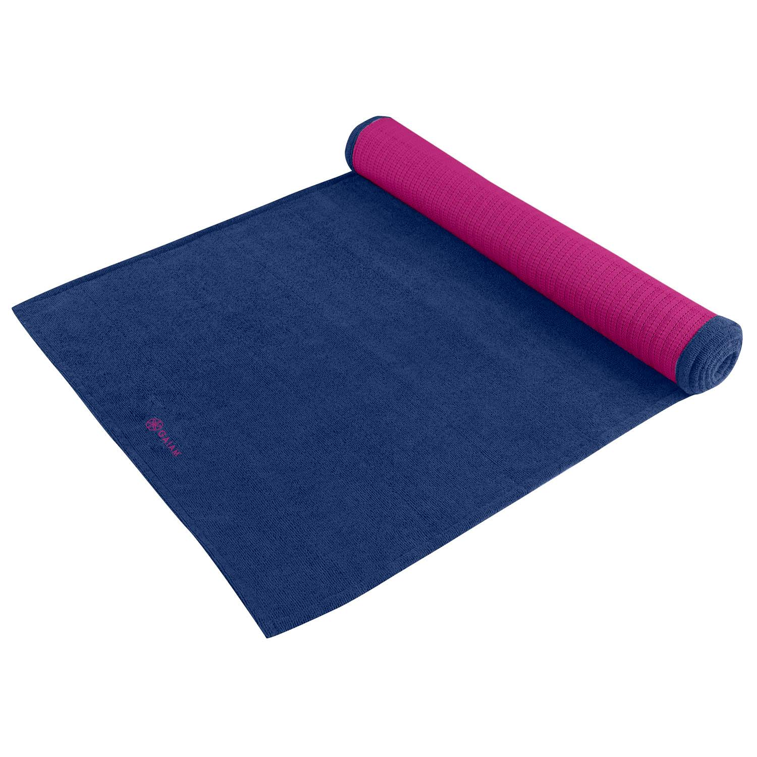 Amazon.com : Gaiam Grippy Yoga Mat Towel, Blue/Fuchsia