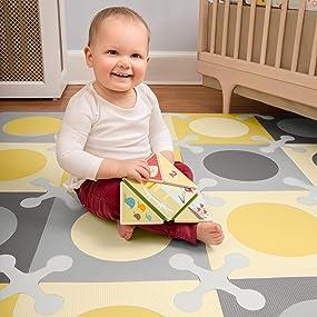 Amazon Com Skip Hop Interlocking Foam Floor Tiles Playspot Gold Grey Early
