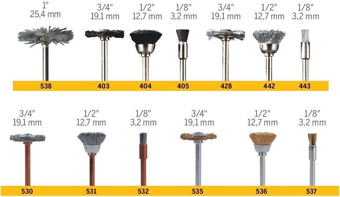 L x 1//8 in Dia Carbon Steel  Brush  2 pk Dremel  1//2   x 1//2 in