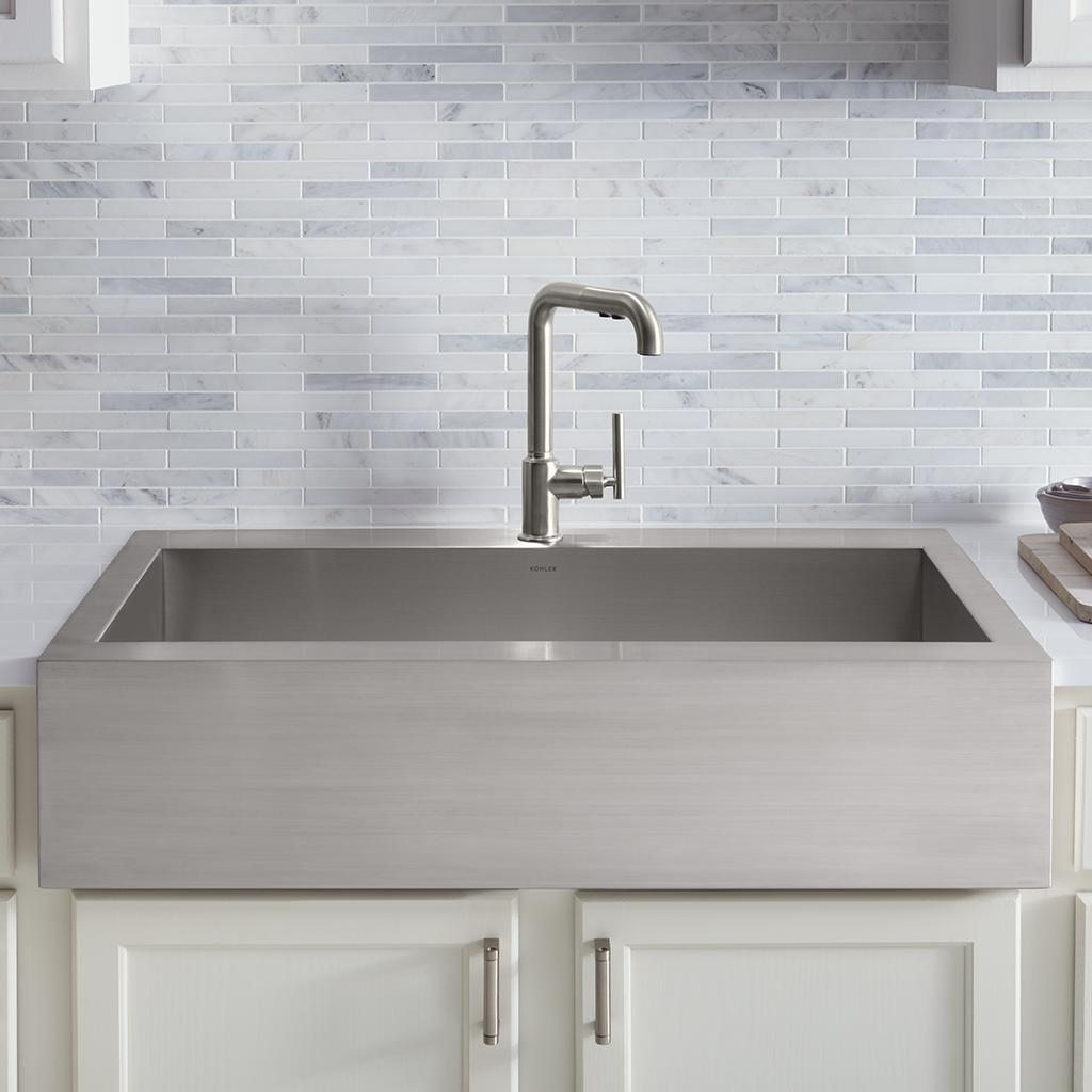 Kohler stainless steel farmhouse sink - Kohler K 3936 Na Vault Undercounter Single Basin Stainless Steel Sink