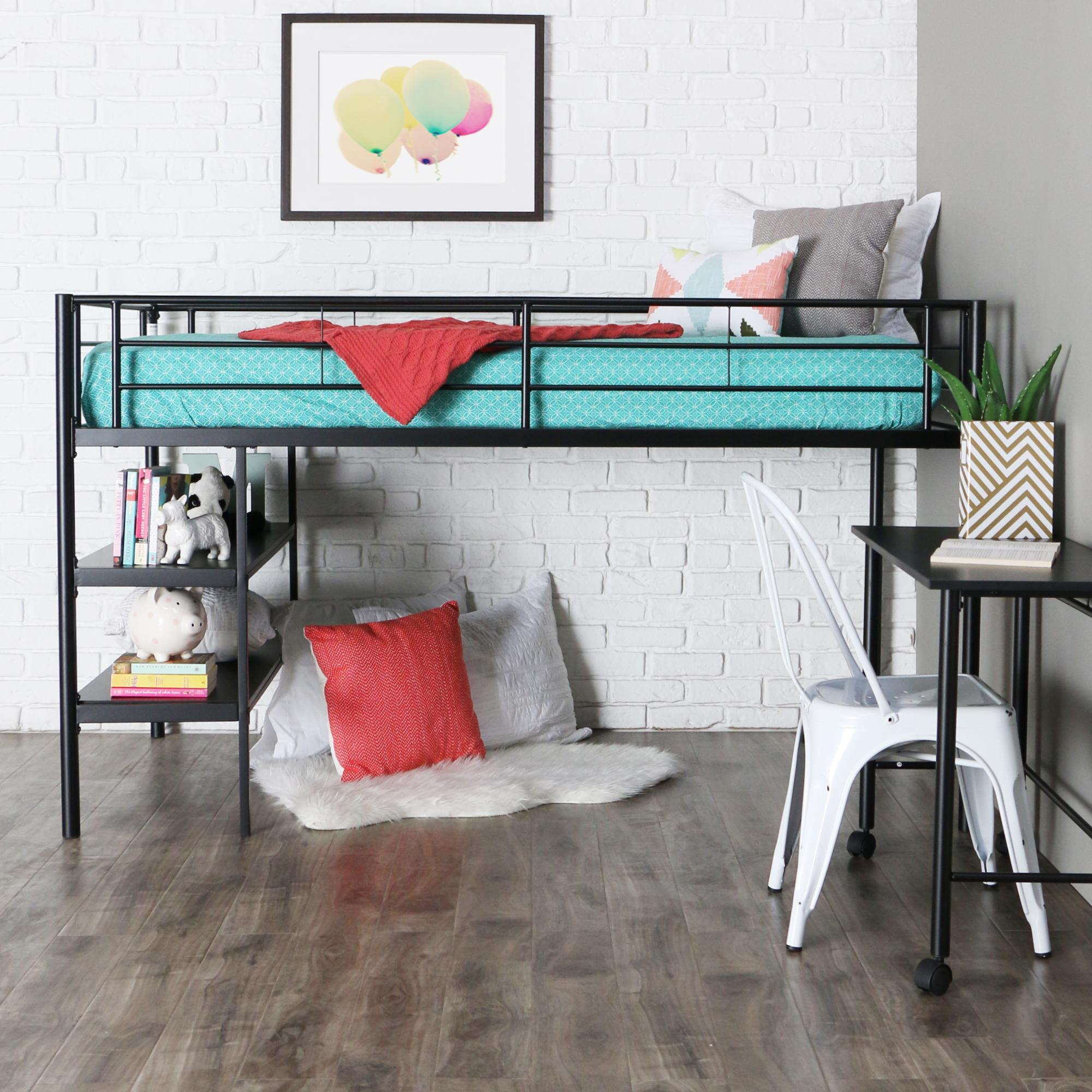 Genial Walker Edison Twin Low Loft Bed With Rolling Desk