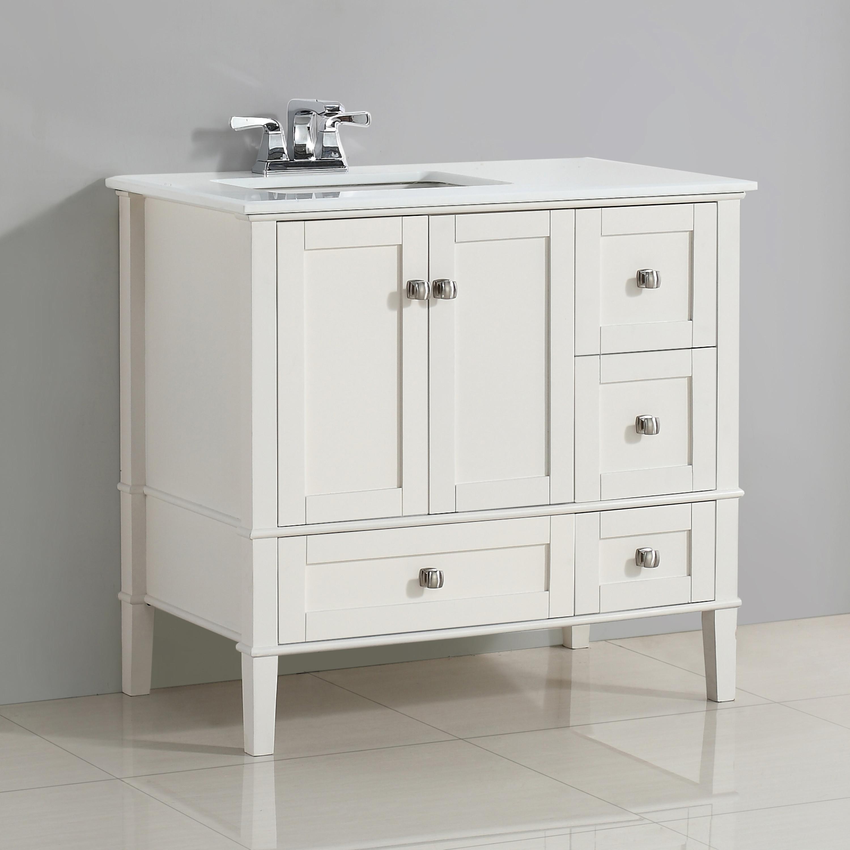 Simpli Home Chelsea 36 Left Offset Bath Vanity With White Quartz Marble Top Soft White