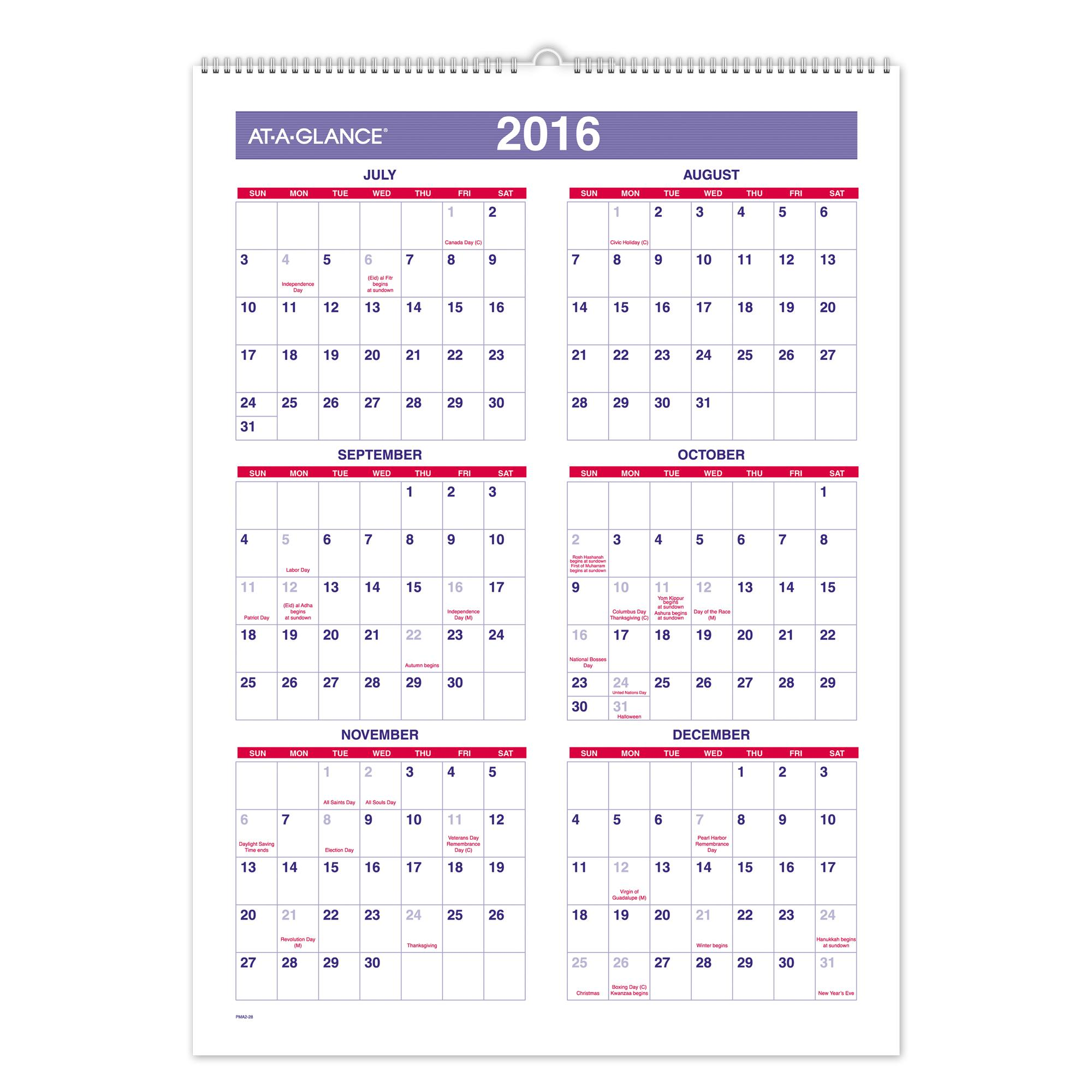 Monthly Wall Calendar : Amazon at a glance monthly wall calendar academic