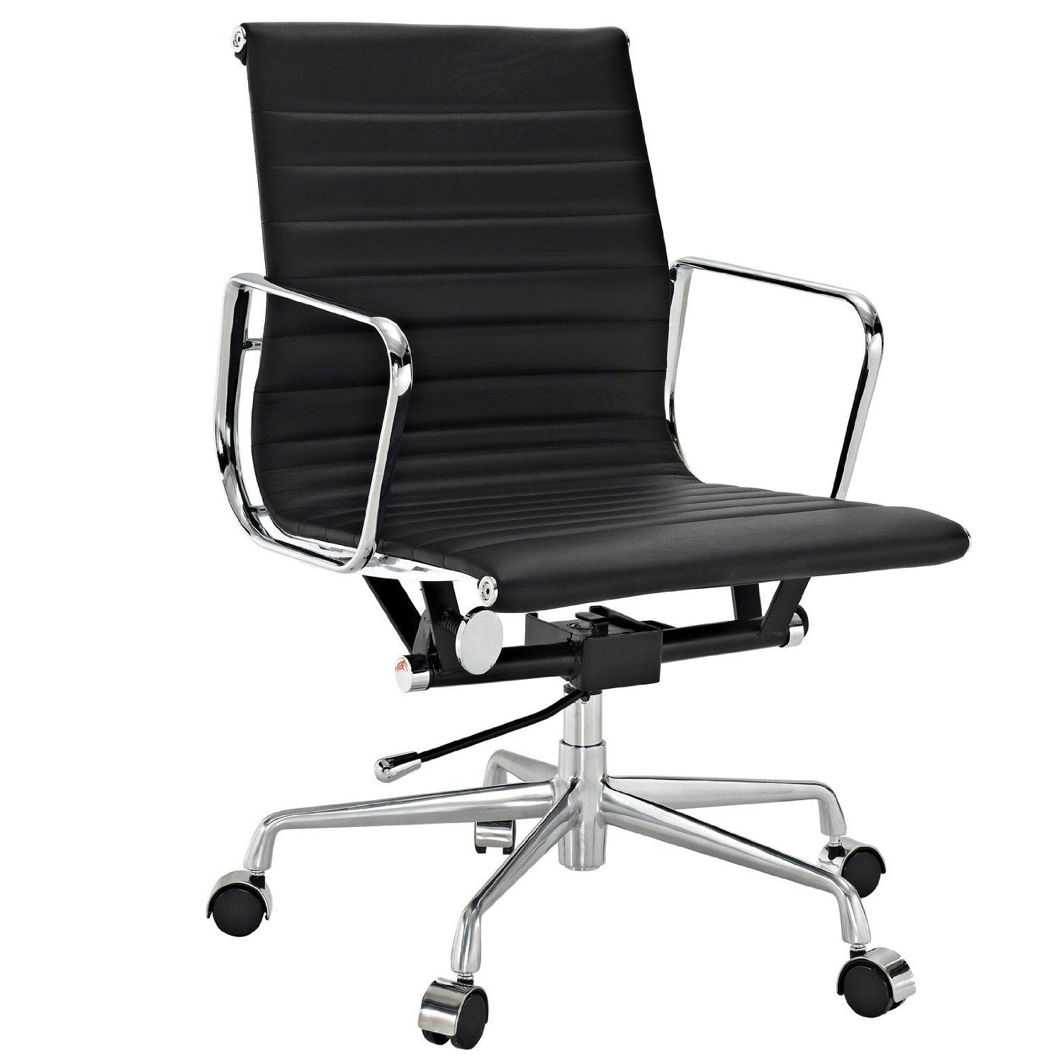 Ribbed mid back office chair in black genuine for Modern leather office chairs
