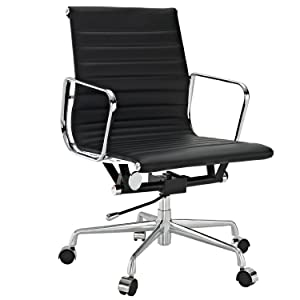Tremendous Ribbed Mid Back Office Chair In Black Genuine Leather Interior Design Ideas Gentotryabchikinfo