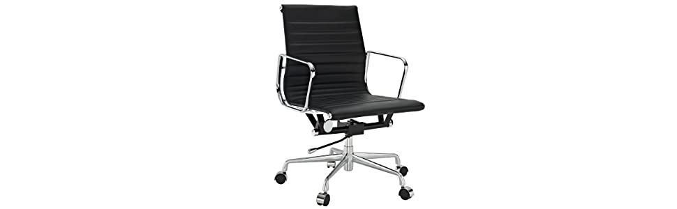 lexmod ribbed mid office. LexMod Ribbed Mid Back Office Chair In Black Genuine Leather Lexmod