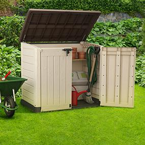 keter store it out max 4 8 x 2 7 outdoor resin horizontal storage shed garden. Black Bedroom Furniture Sets. Home Design Ideas