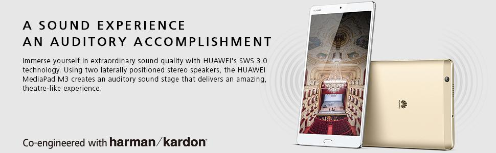 SWS 3.0, lateral speakers, theatre-like, theater-like, huawei, hauwei, mediapad m3, stereo, quality