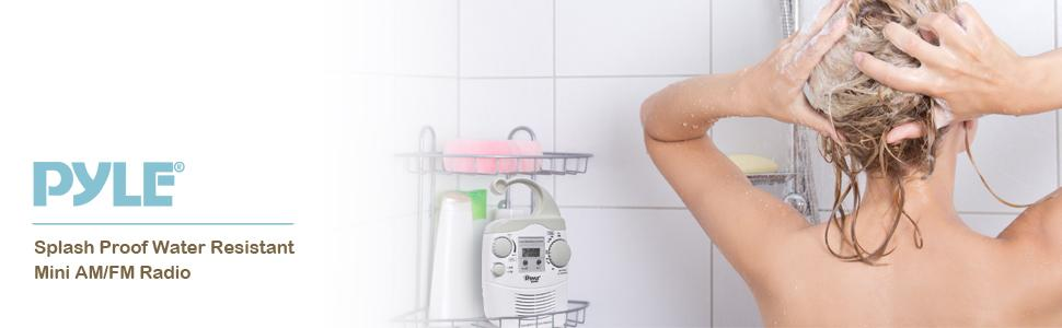 waterproof shower clock radio pyle home
