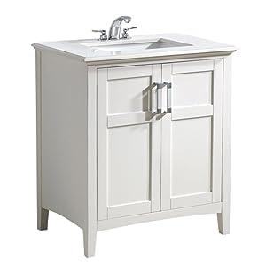 Simpli Home Winston 30 Bath Vanity with Quartz Marble Top soft
