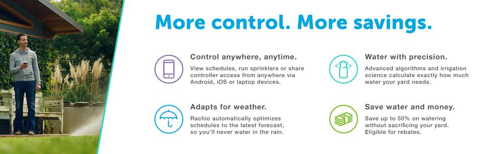 More control. More savings. A Smart Sprinkler Controller you can control from anywhere.