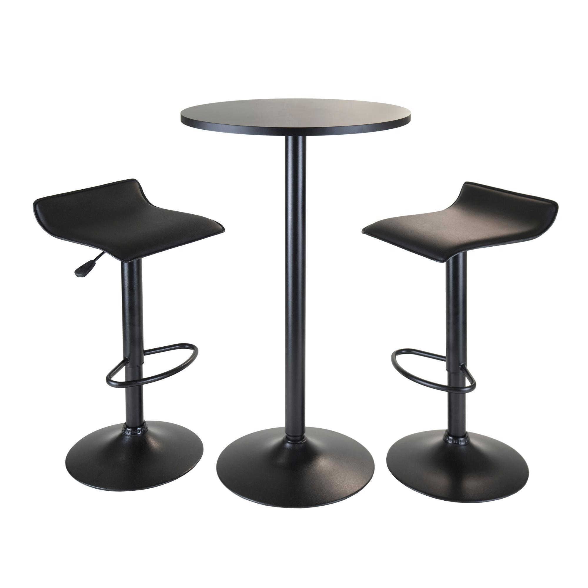 High Table With Stools: Amazon.com: Winsome Obsidian 3-Piece Pub Set With Round