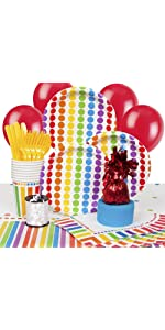 Rainbow Birthday Party Supplies Kit for 8