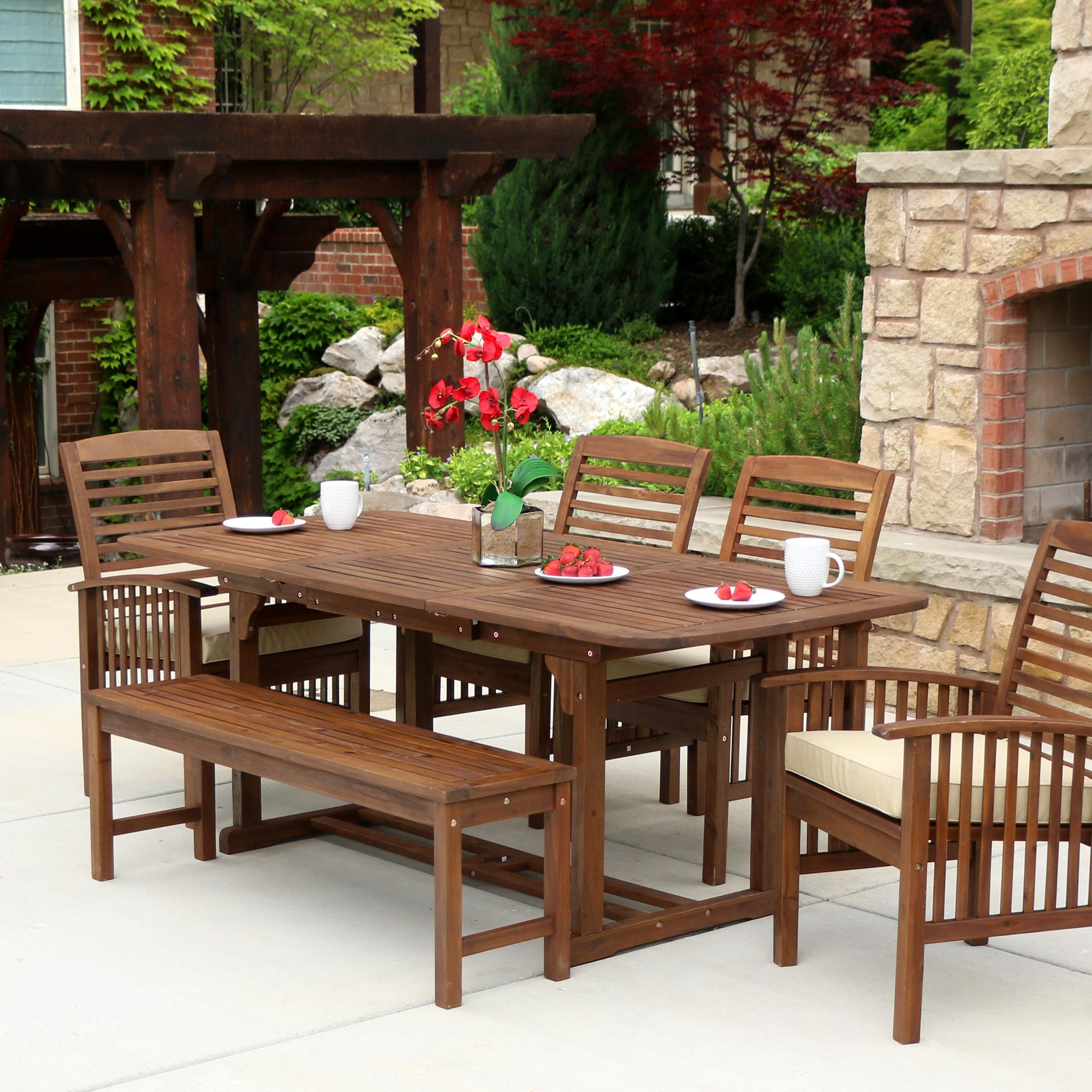 We furniture solid acacia wood 6 piece patio for Wooden outdoor furniture