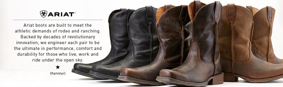 Amazon.com   Ariat Men&39s Rambler Wide Square Toe Western Cowboy