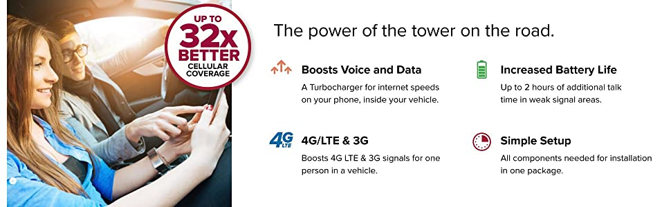 weBoost Drive 4G-S Cell Phone Signal Booster up to 32x