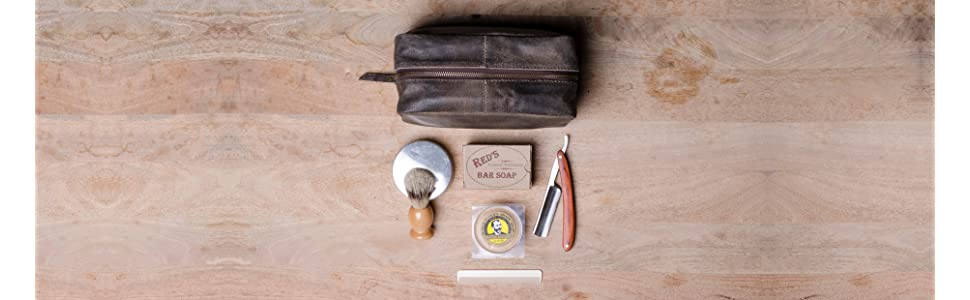 f1f32b5772ee Amazon.com   Harris Luxury Leather Dopp Kit Shaving Toiletry Travel ...