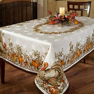 Harvest Splendor Engineered Border Tablecloth