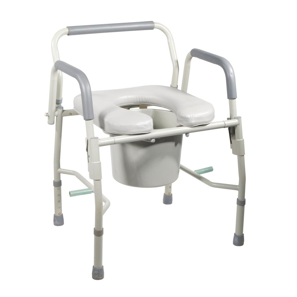 Amazon.com: Drive Medical Steel Drop Arm Bedside Commode with Padded ...