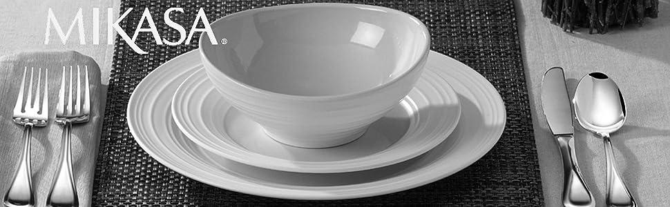 mikasa swirl, plates, flatware, glasses, white dinnerware, cobalt wine glasses, aluminum serveware