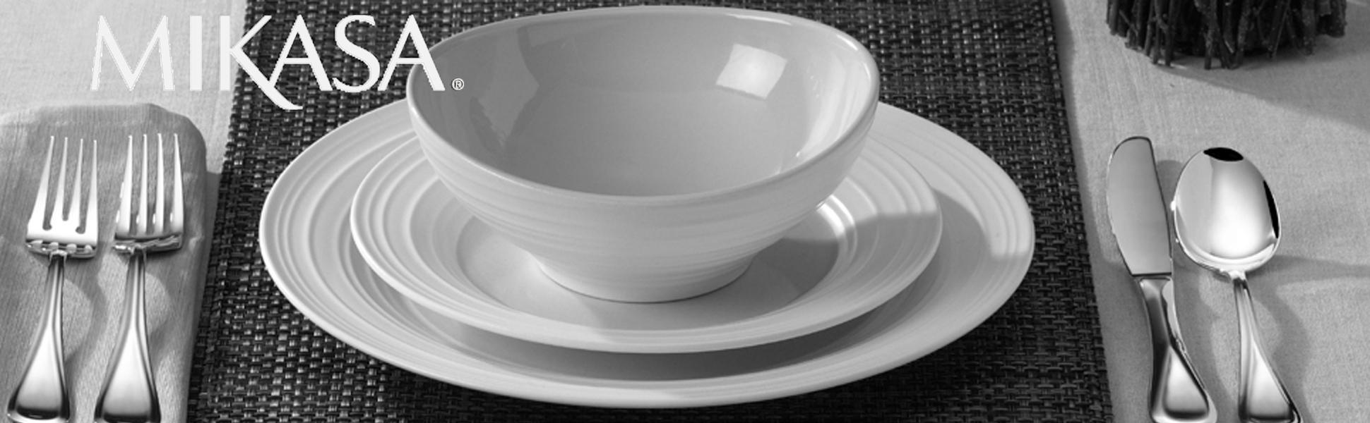 Mikasa Swirl Collection & Amazon.com: Mikasa Swirl White 20-Piece Dinnerware Set Service ...