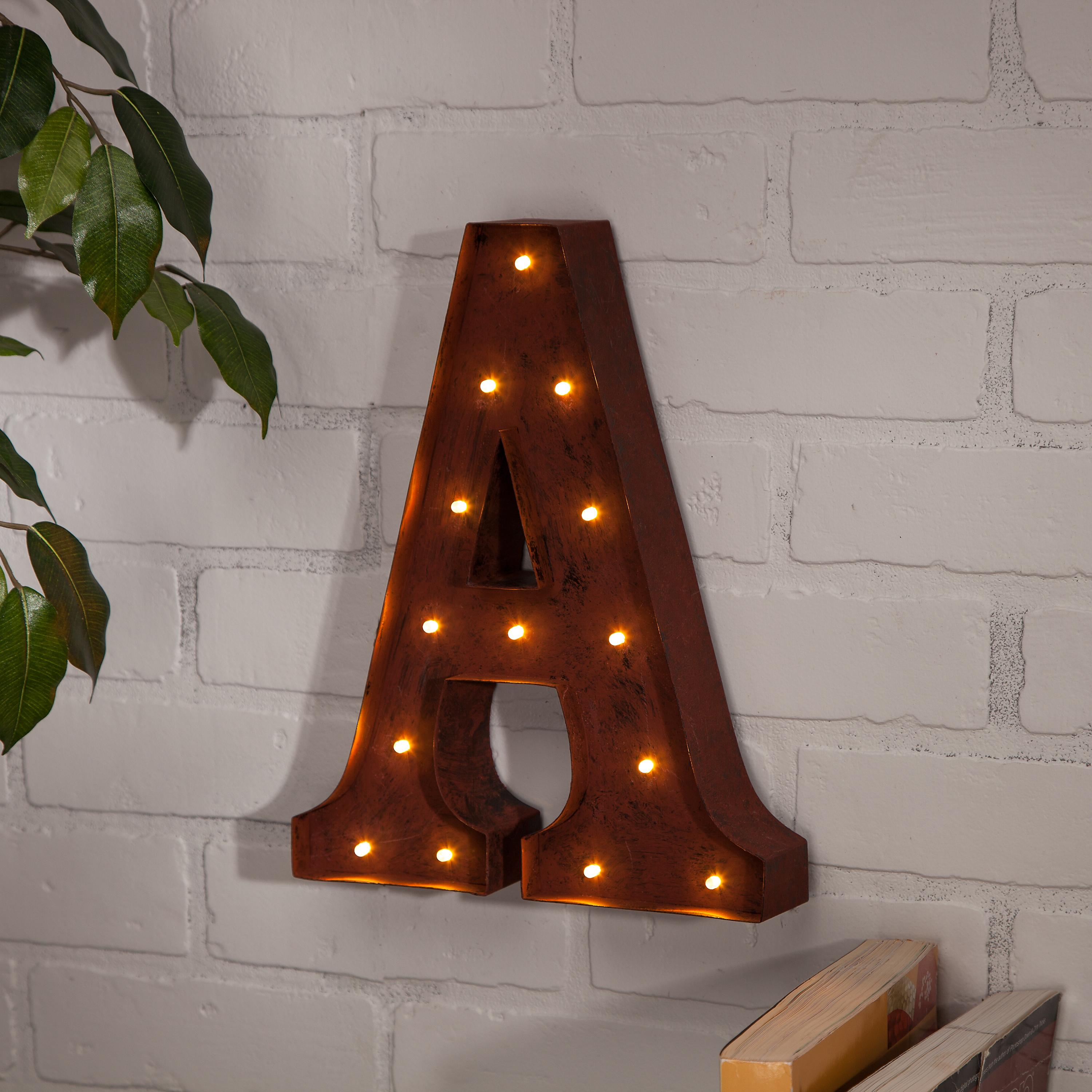 the gerson company lighted metal letter a with rustic finish