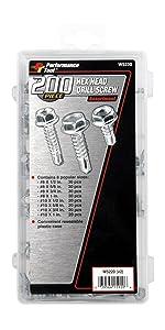 Performance Tool W5220 Hex Washer Head Self Drilling Assortment