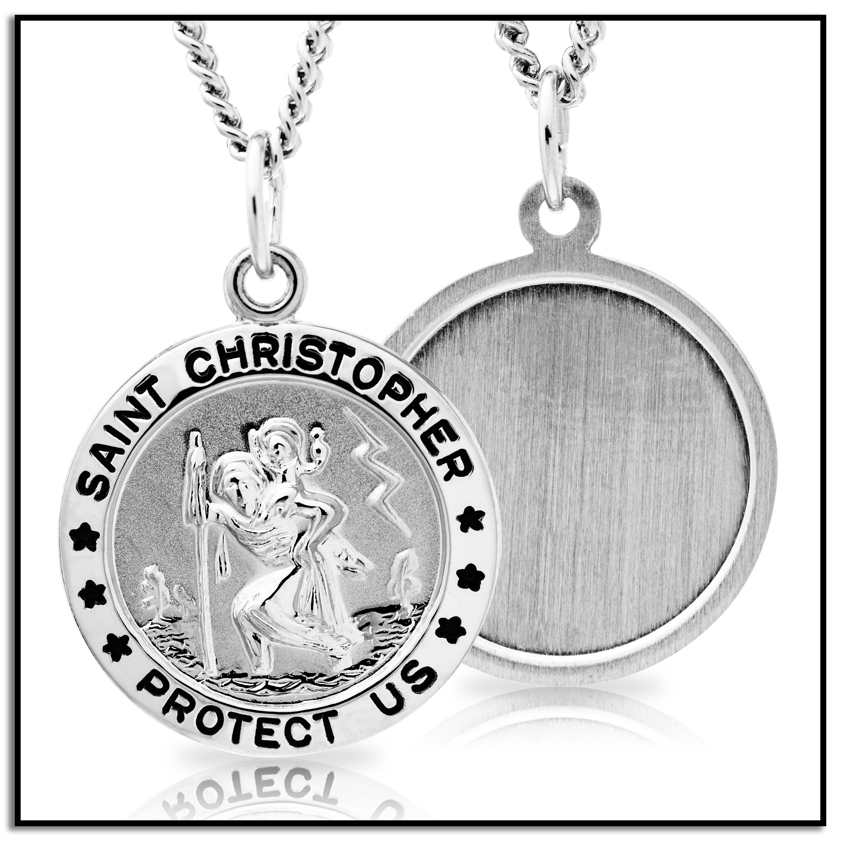 Sterling silver round saint christopher medal with stainless steel silver st christopher aloadofball Choice Image