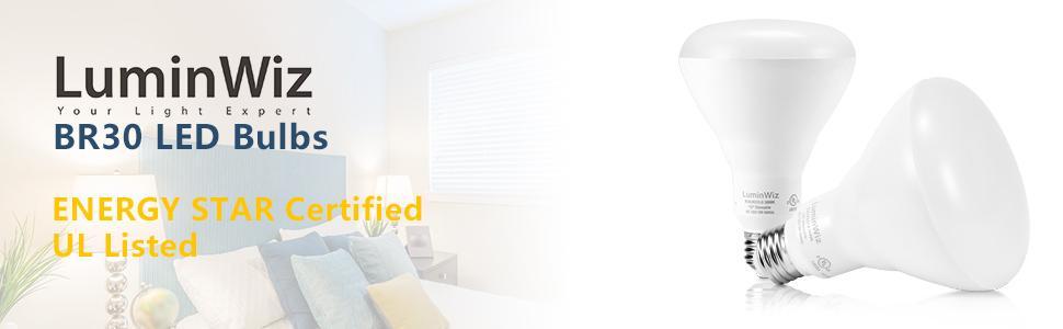 BR30 LED Light Bulbs,LuminWiz 9W Dimmable Flood Light Bulb,65W Equivalent,E26,UL Listed, Energy Star