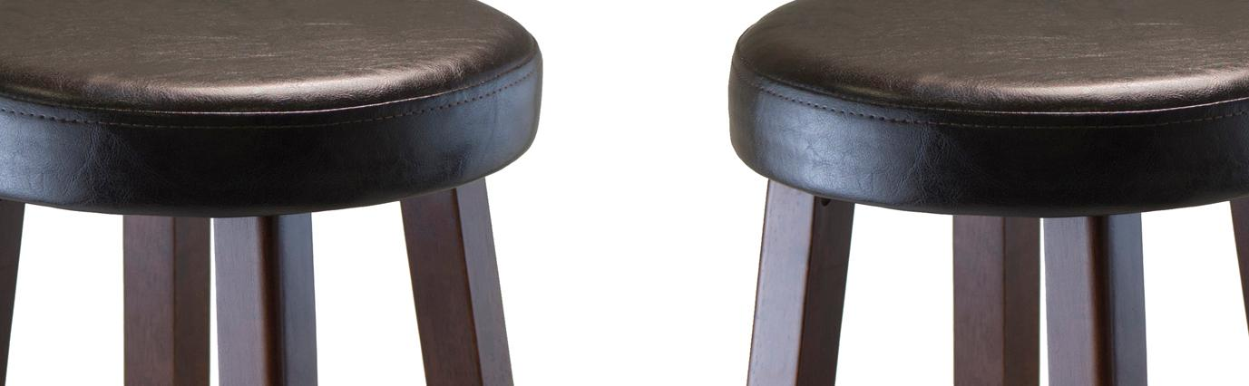 Winsome Wood Marta Assembled Round Bar Stool With PU Leather Cush