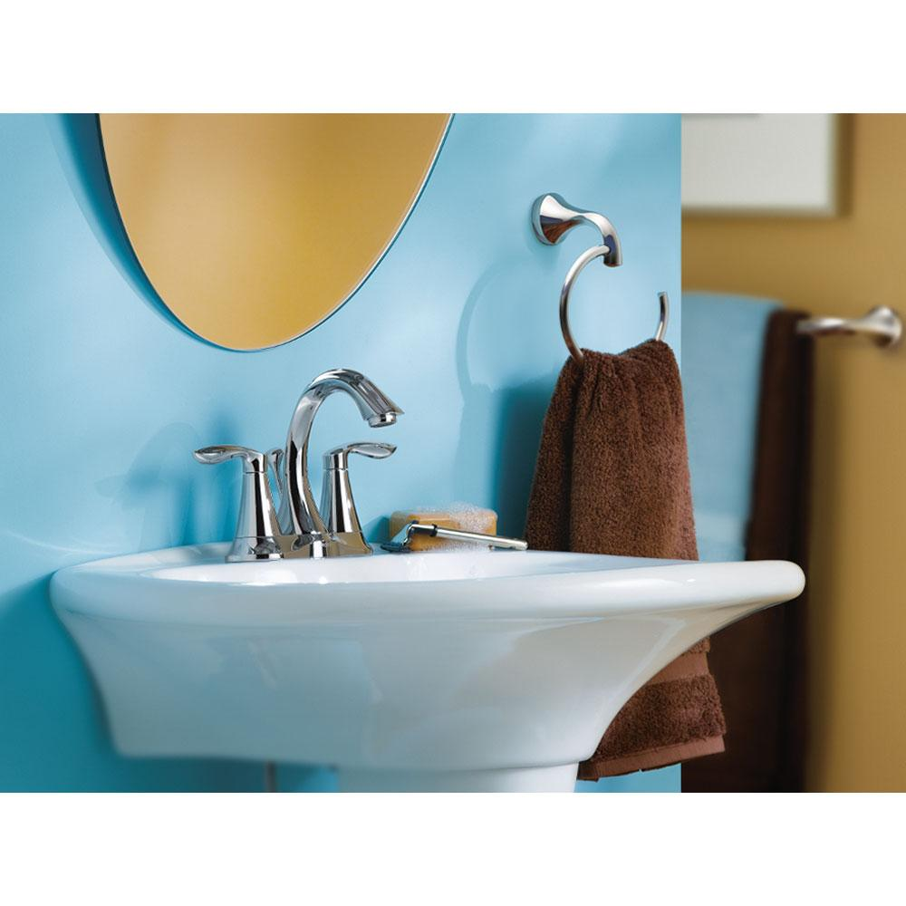 Moen eva two handle centerset bathroom faucet with drain - Moen chrome bathroom sink faucets ...