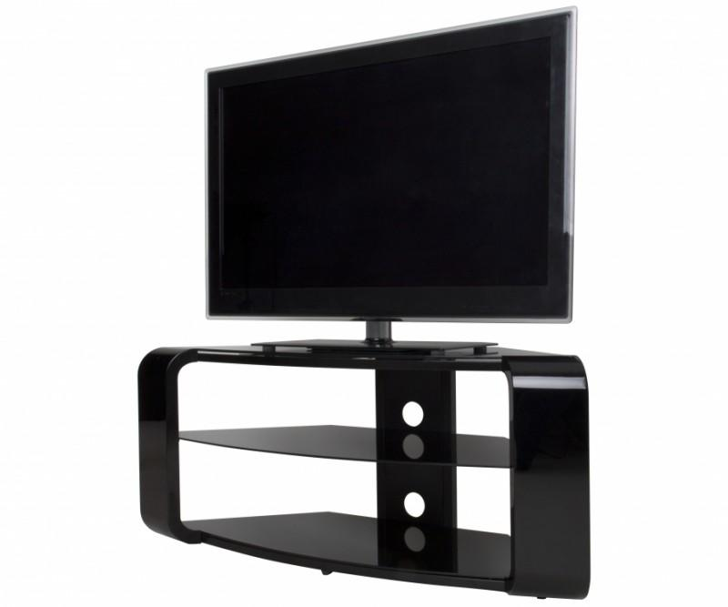 avf fs1174cob a como tv stand for tvs up to 55 inch gloss black home audio theater. Black Bedroom Furniture Sets. Home Design Ideas