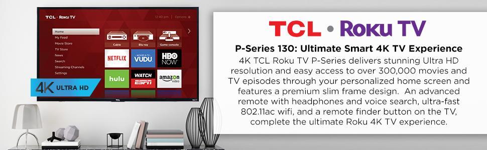 Amazoncom Tcl 43up130 43 Inch 4k Ultra Hd Roku Smart Led Tv 2016