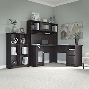 Cabot collection l desk and hutch kitchen for Amazon small bookshelf