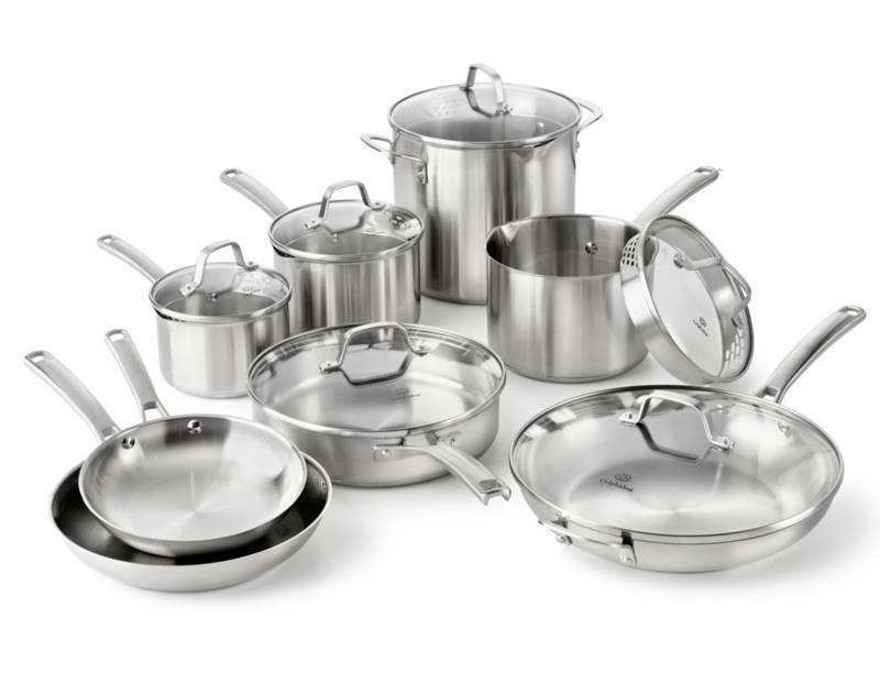calphalon classic stainless steel 14piece cookware set