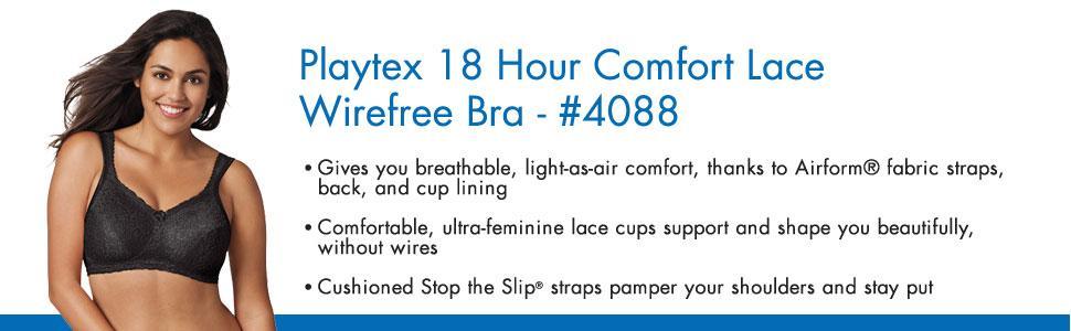 f4befc80ff3e3 Playtex Women s Plus Size Comfort Lace Wire-Free Bra at Amazon ...