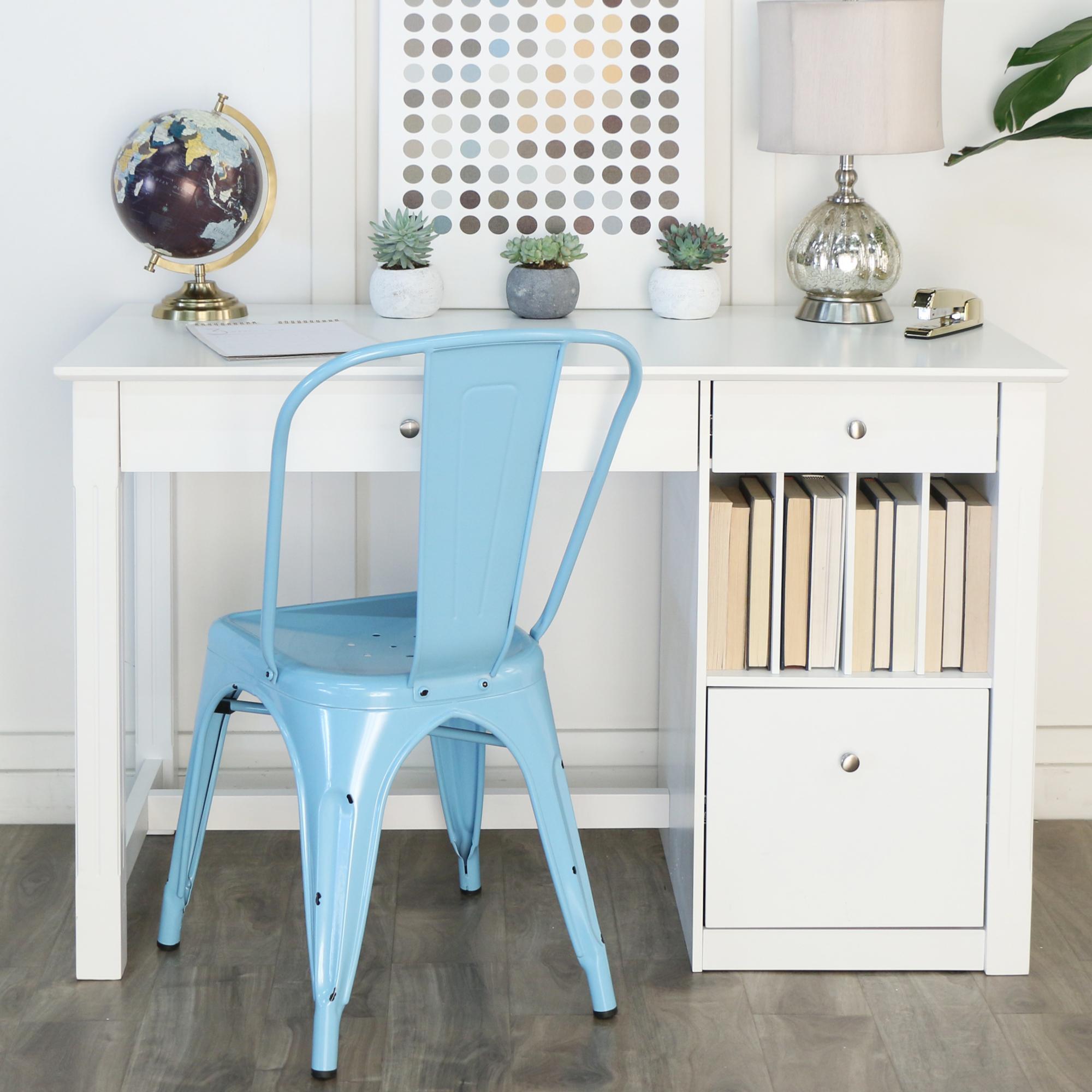 Amazon.com: White Wood Deluxe Storage Computer Desk: Kitchen & Dining