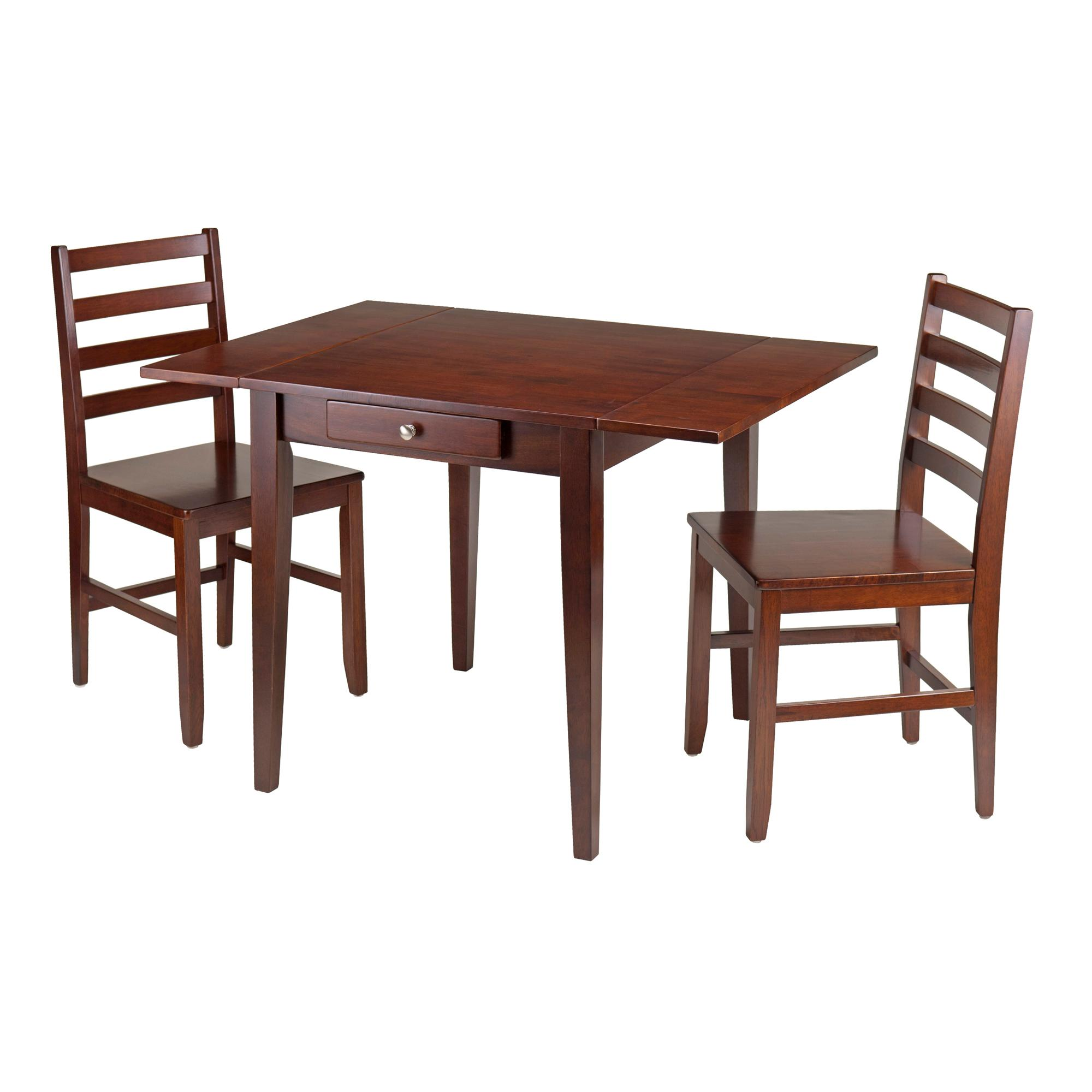 Hamilton 3 Pc Drop Leaf Dining Table With 2 Ladder Back Chairs