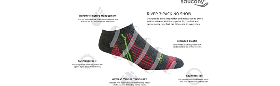 RIVER 3-PACK NO SHOW SOCKS BY SAUCONY