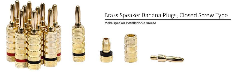 Amazon Monoprice 109436 Gold Plated Speaker Banana Plugs 5