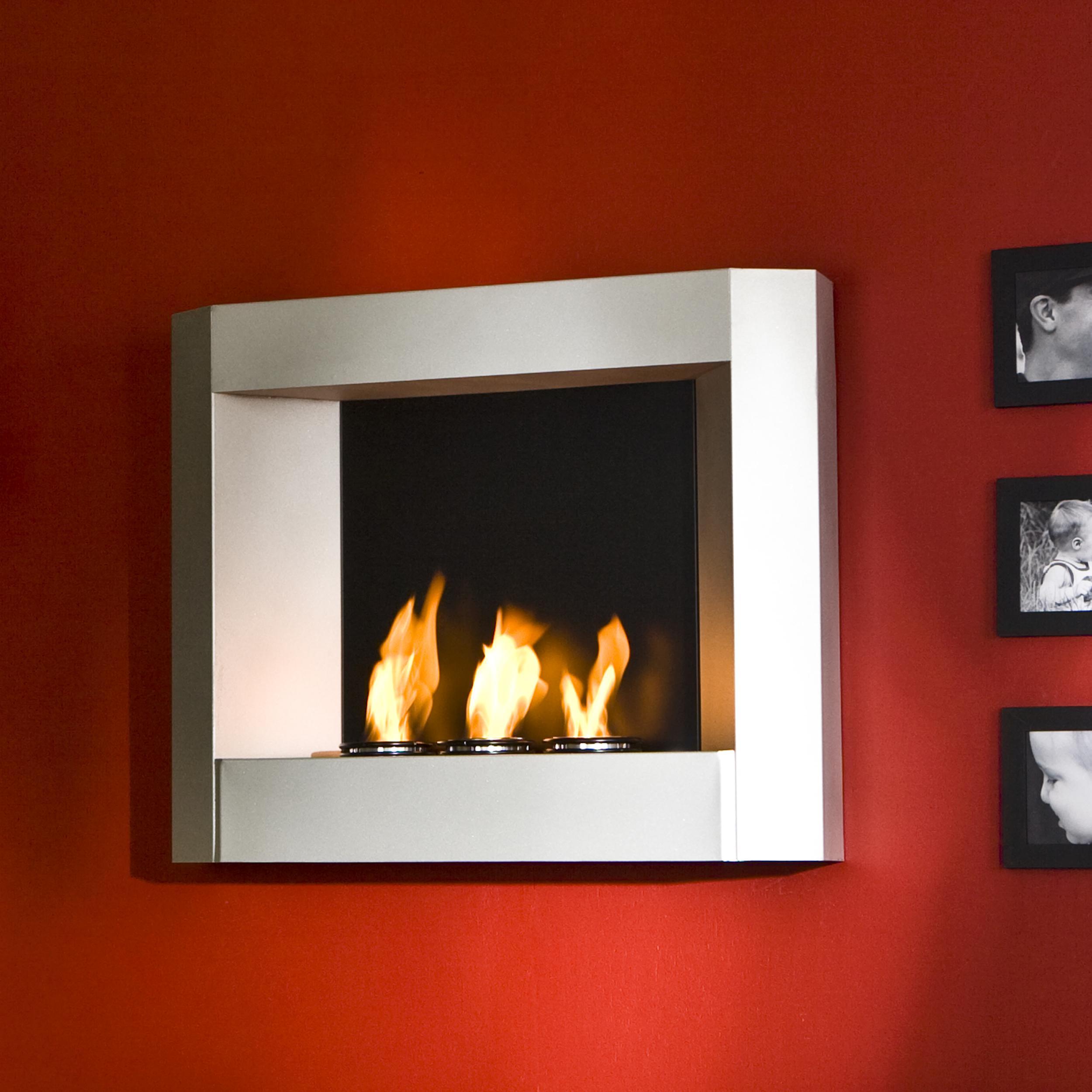 Amazon Com Sei Contemporary Wall Mount Gel Fuel Fireplace Silver