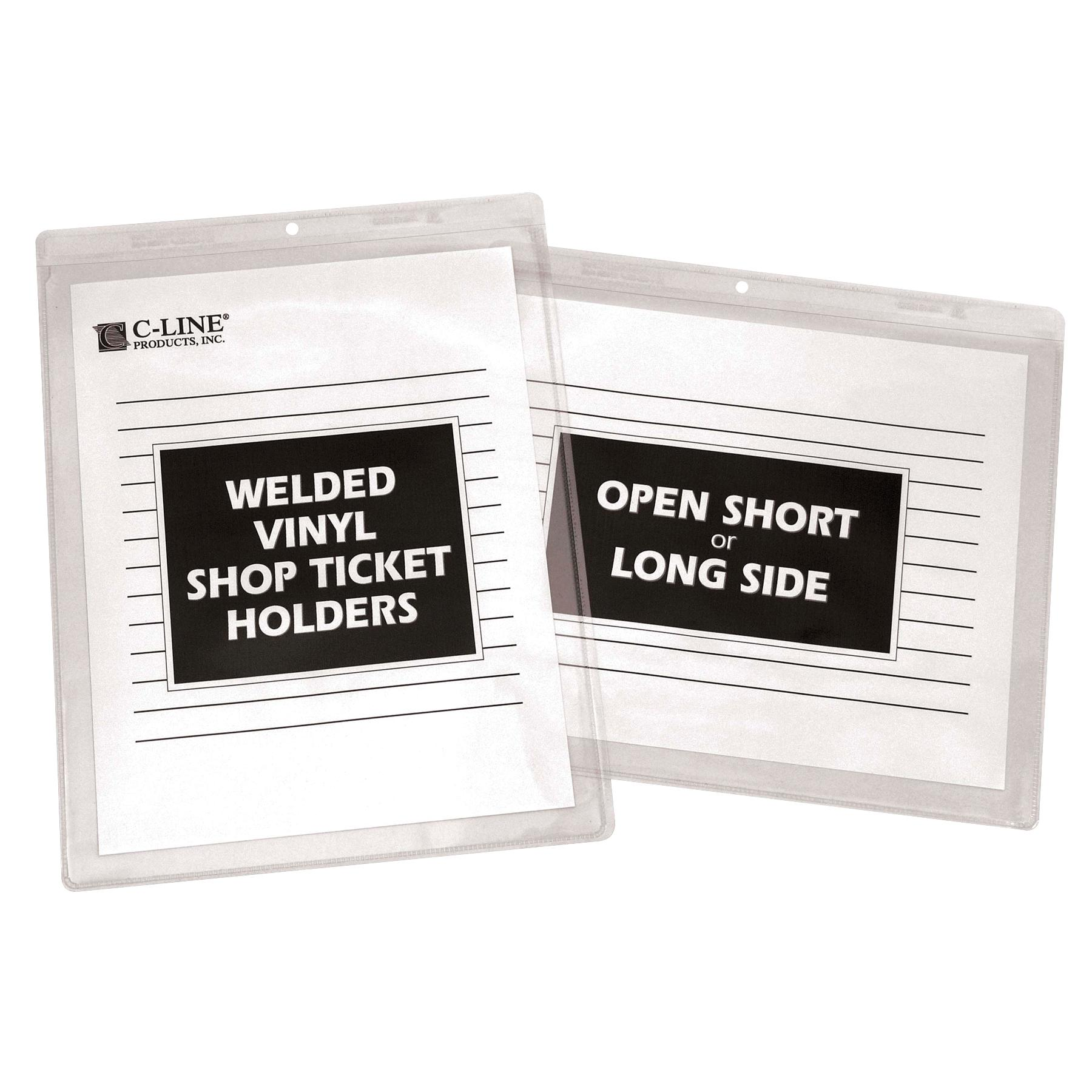 c line stitched shop ticket holders both sides clear 9 x 12 inches 25 per box. Black Bedroom Furniture Sets. Home Design Ideas